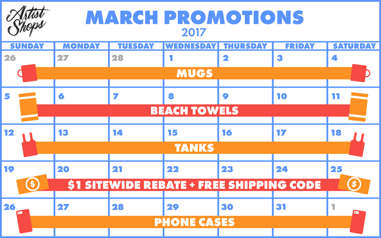 March Promotions for Artist Shops