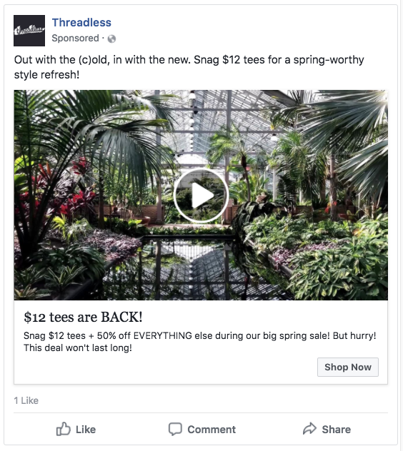 Single image Facebook ad example