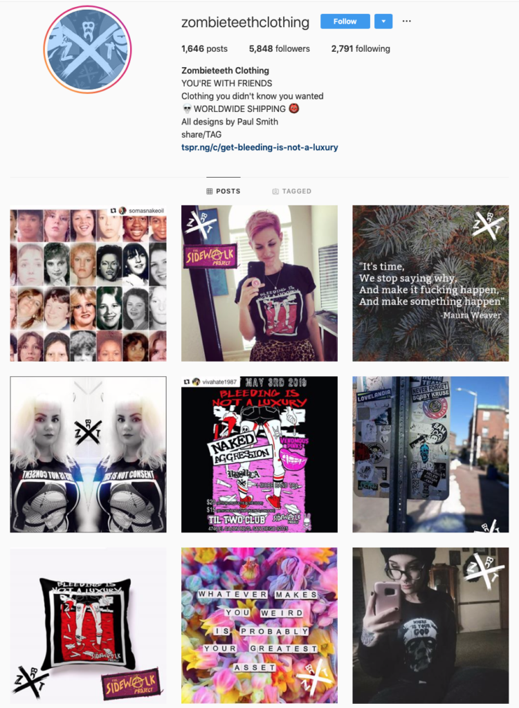 ZombieTeeth Clothing on Instagram