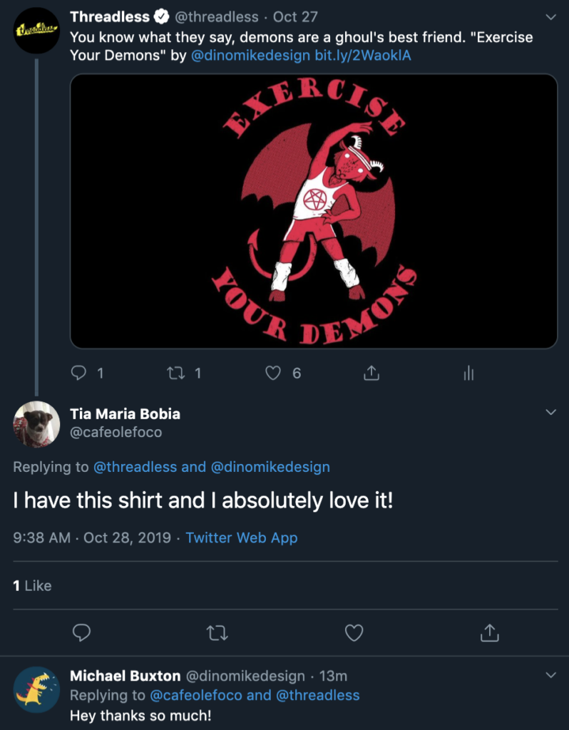Threadless tweet about t-shirt design