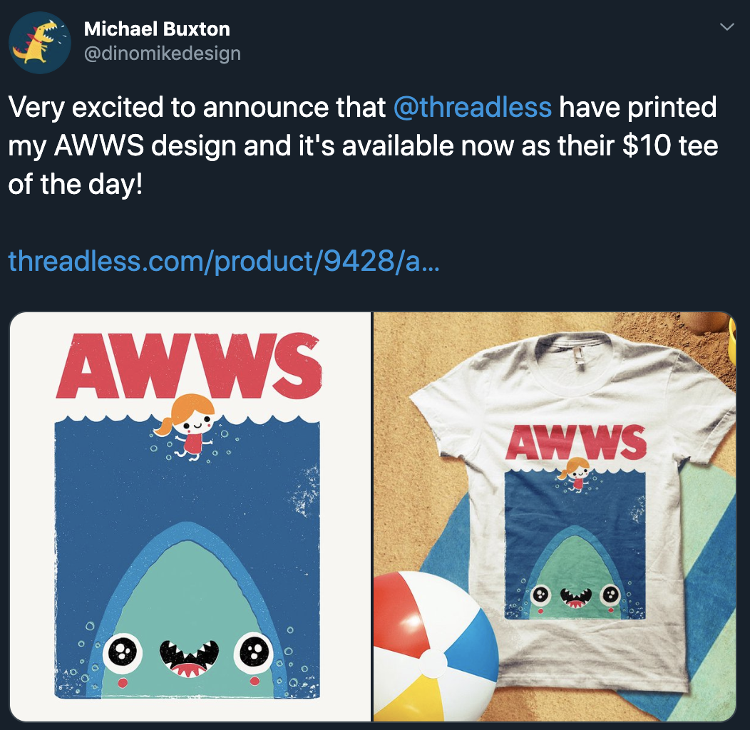 Tweet about t-shirt design