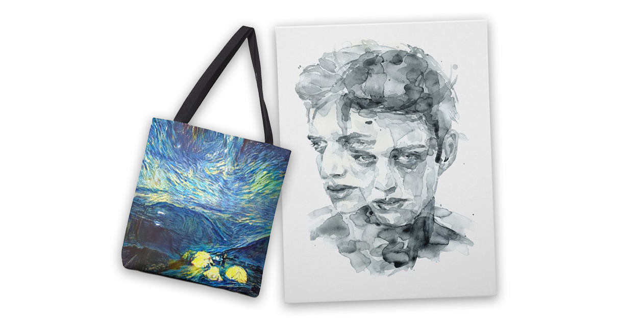 """Many Suns"" Tote Bag by Infinitesimal and ""Dark Impressions"" Stretched Canvas by PRIMA LETA"