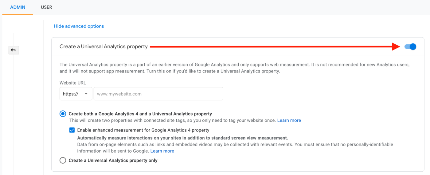 Google Universal Analytics Property