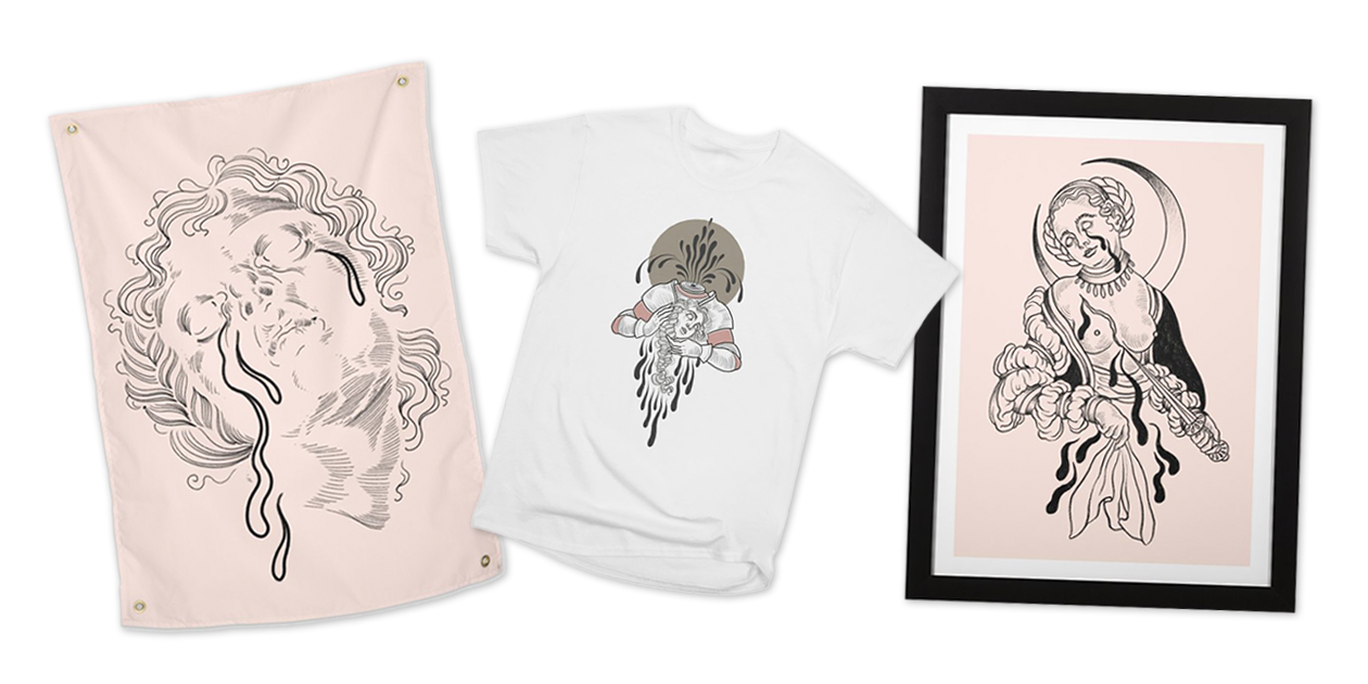 "Artist Shops designs inspired by Renaissance art: ""Cry Baby"" Tapestry, ""Self-Destruction"" Men's Heavyweight T-Shirt, and ""Cross My Heart"" Framed Fine Art Print by Meagan Blackwood"