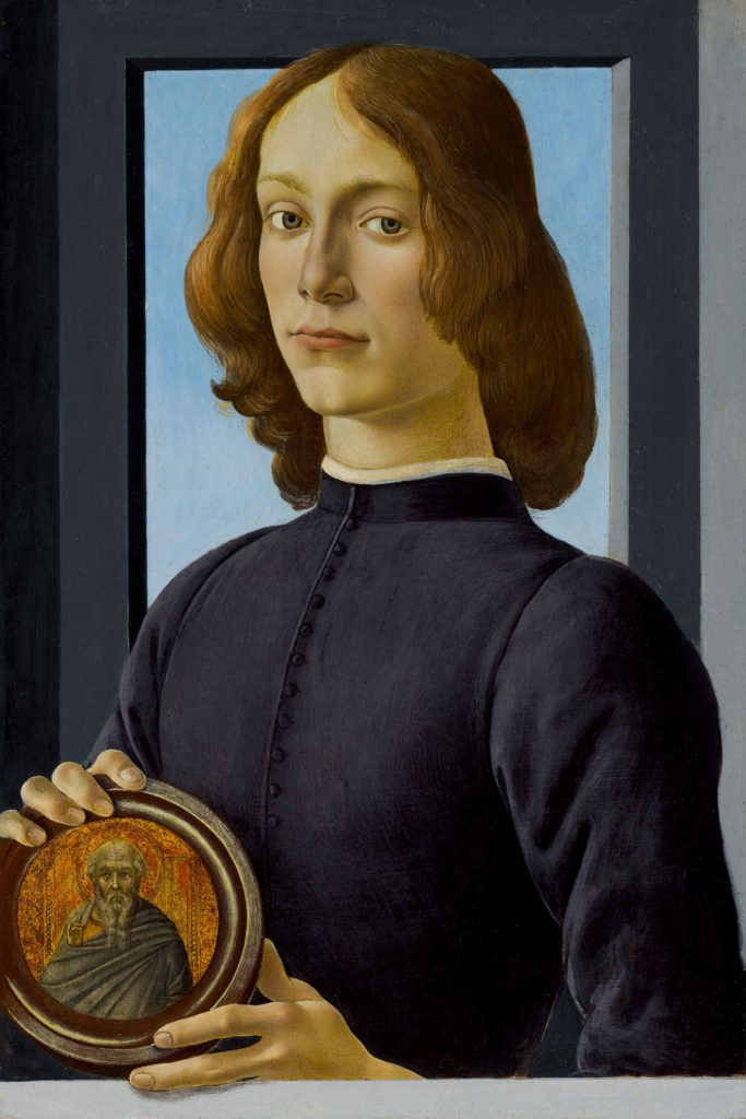 """Portrait of a Young Man Holding a Roundel"" by Sandro Botticelli"