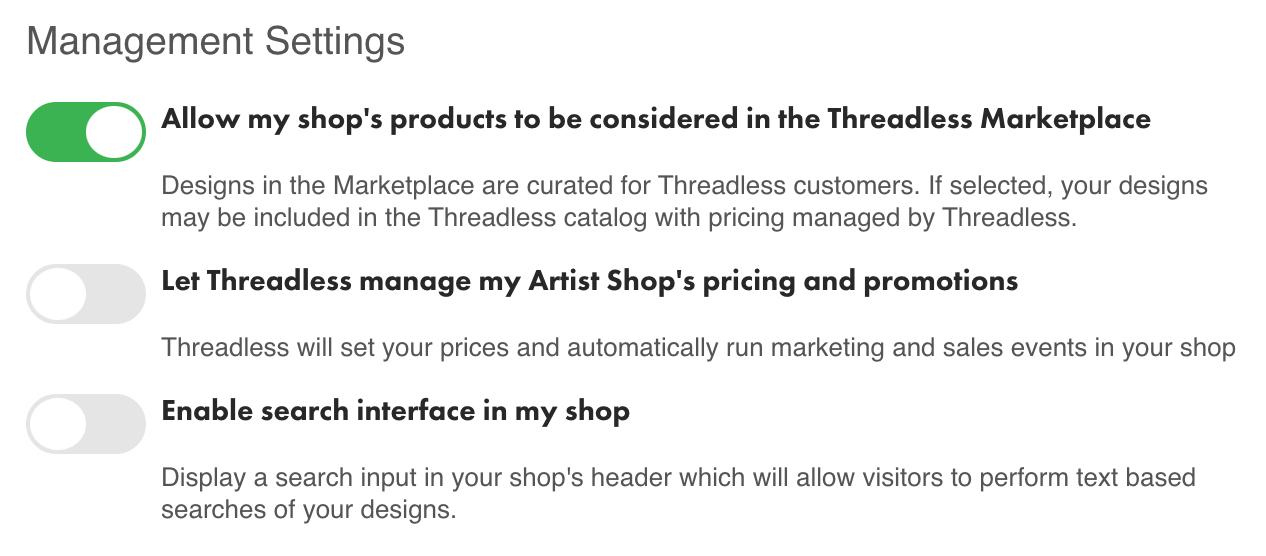 Artist Shop Settings