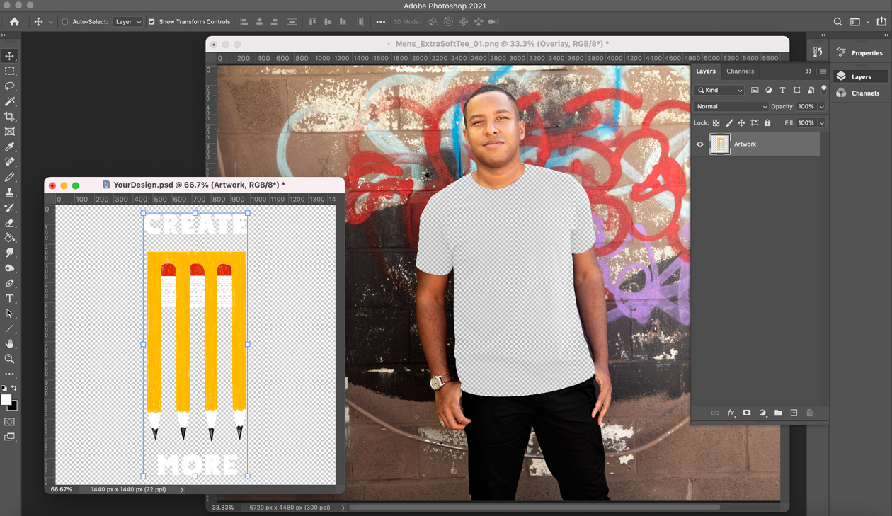 Copy and paste your design into the lifestyle overlay as its own layer.