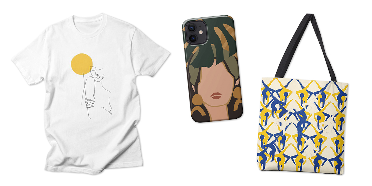 """Artist Shops Designs with Abstracted Bodies: """"Bring the Sun"""" Men's Regular T-Shirt by Ninhol, """"Woman with Plant"""" Phone Case by Muses 9, and """"The Human Spirit Will Prevail"""" Tote Bag by Design4U Studio"""