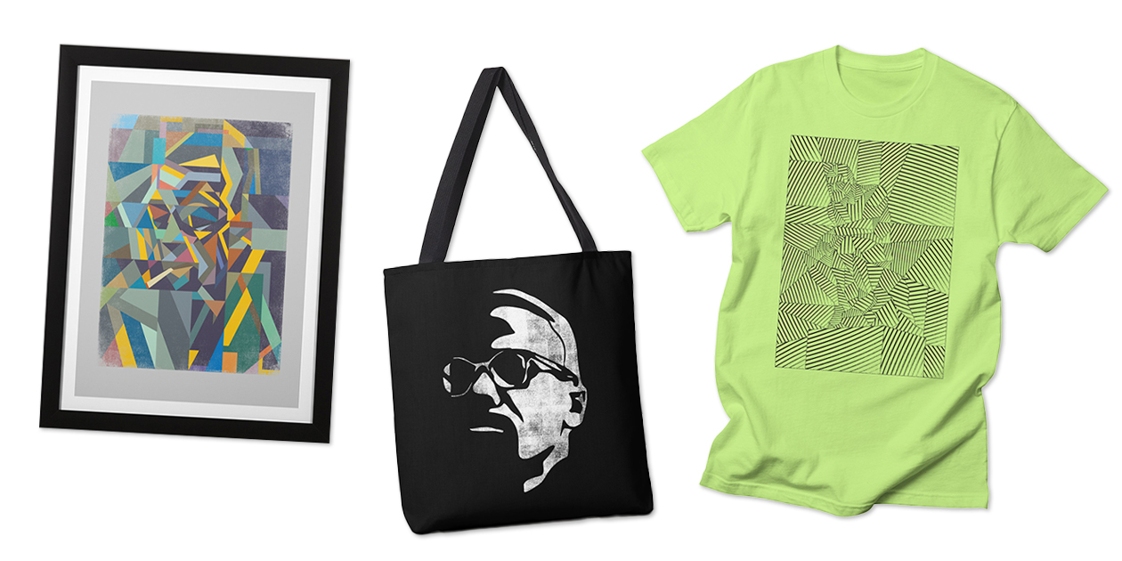 """Artist Shops Designs with Abstracted Bodies: """"Camus"""" Framed Fine Art Print, """"M X"""" Tote Bag, and """"Algorithm"""" Men's Regular T-Shirt by Bulo"""