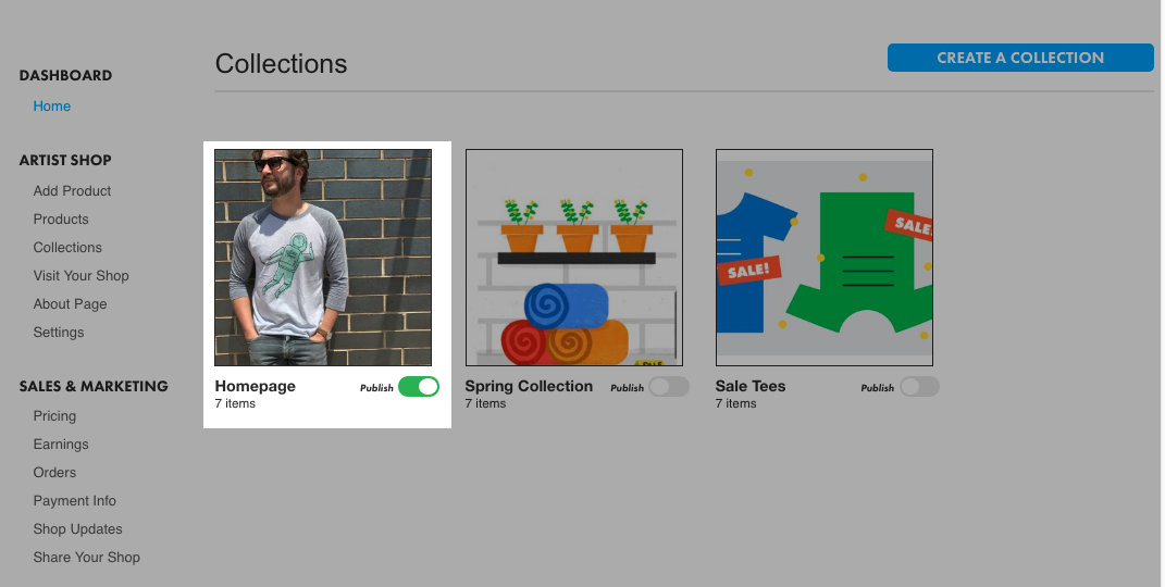 Collections in Artist Shop Dashboard