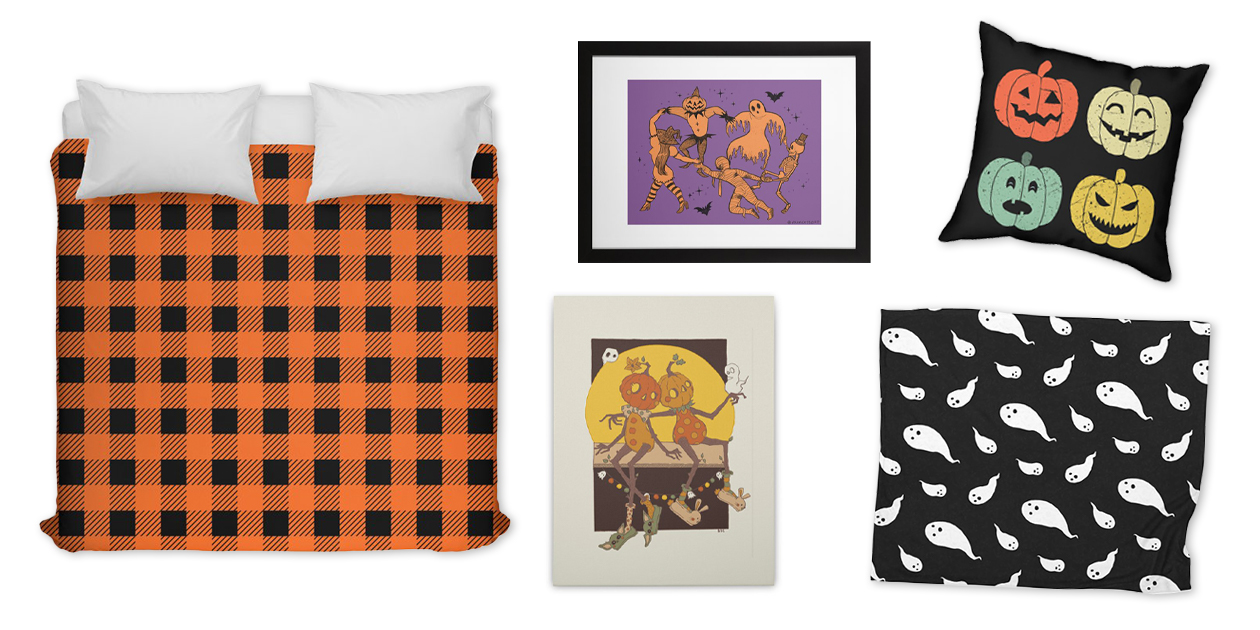 """""""Halloween Plaid"""" Duvet Cover by LMHDesigns, """"The Halloween Dance"""" Framed Fine Art Print by primcess, """"Vintage Retro Pumpkins"""" Throw Pillow by itshoneytree, and """"Pumpkin Love"""" Stretched Canvas by Ralbers2224"""