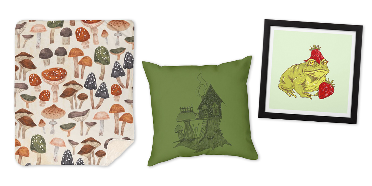 """""""Mushrooms Vol.1"""" Sherpa Blanket by IzPtica, """"Toadstool Cottage"""" Throw Pillow by ThistleAndSage, and """"Frogberry"""" Framed Fine Art Print by karenmooney"""