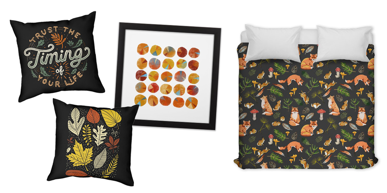 """""""Trust the Timing of Your Life"""" Throw Pillow by Tobe Fonseca, """"Simply Leave"""" Throw Pillow by RonanL, """"Pies are Squared"""" Framed Fine Art Print by Nicsquirrell, and """"Foxes & Rabbits Autumn Forest 2"""" Duvet Cover by mmartabc"""