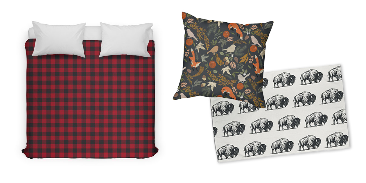 """""""Red Lumberjack Plaid"""" Duvet Cover by Irene_, """"Autumnal Wild Nature 90"""" Throw Pillow by mmartabc, and """"Cool Charcoal Buffalo Pattern"""" Rug by WGshop"""