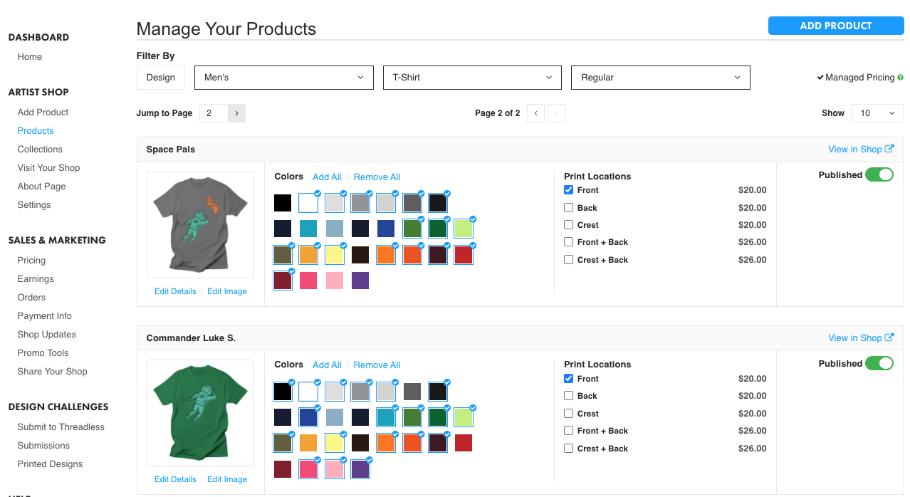 Double-Sided T-Shirts in the Artist Dashboard